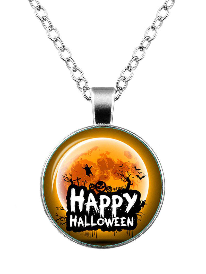 Happy Halloween Pumpkin Bat Ghost Necklace - SILVER