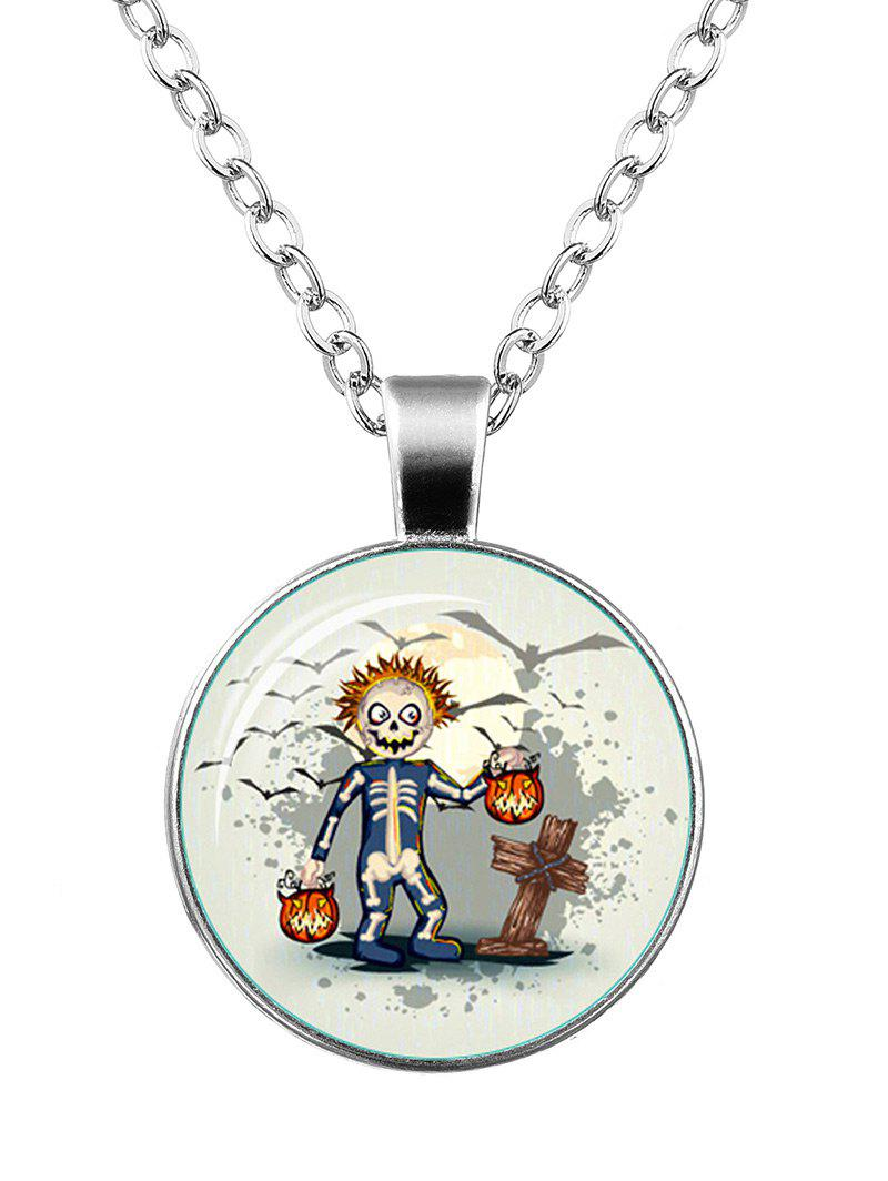 Funny Halloween Skeleton Pumpkin Bat Necklace - SILVER