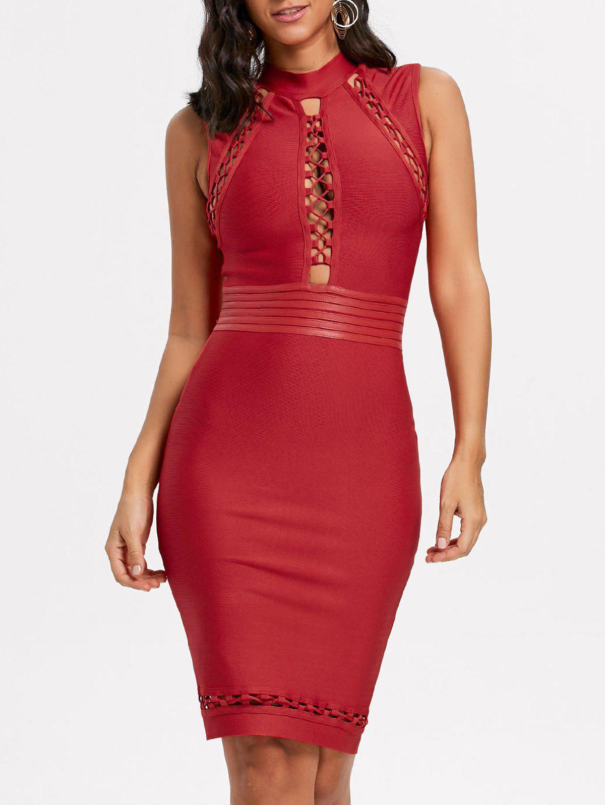 Lattice Cut Out Bodycon Bandage Dress - RED S
