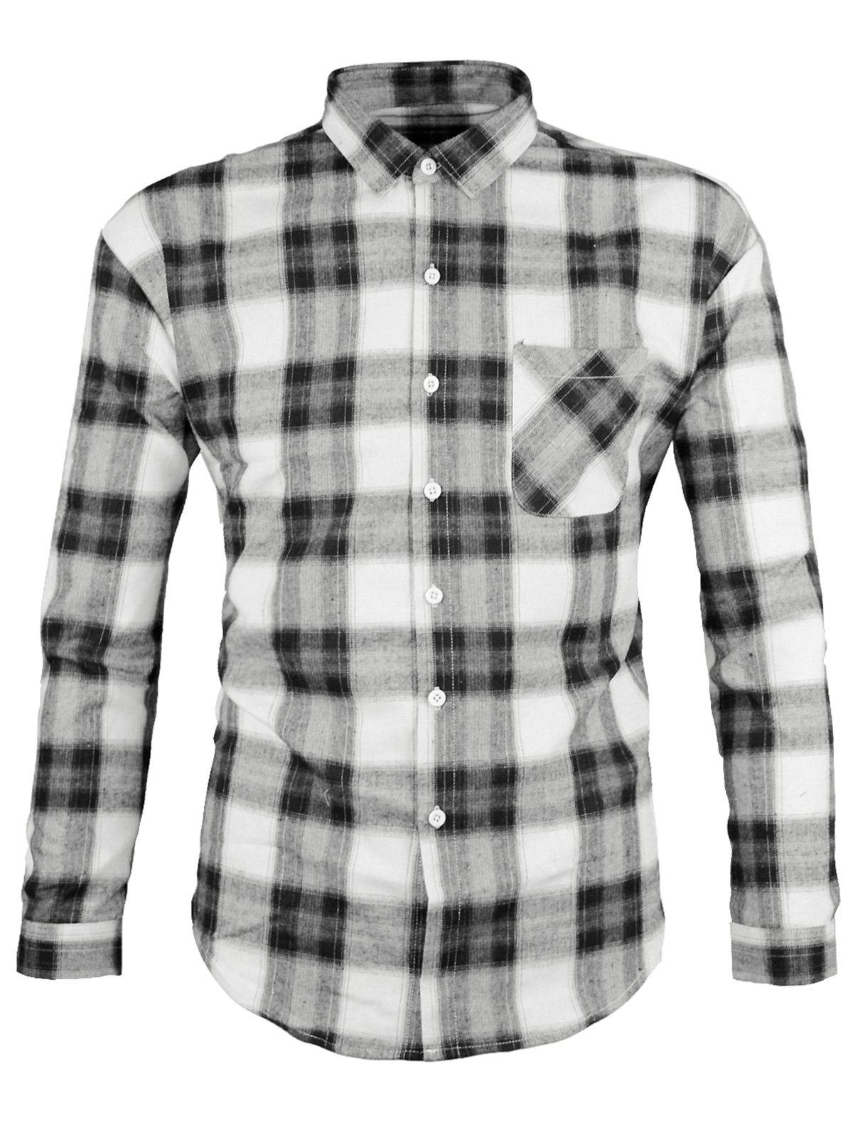 Chest Pocket Plaid Long Sleeve Shirt, Gray