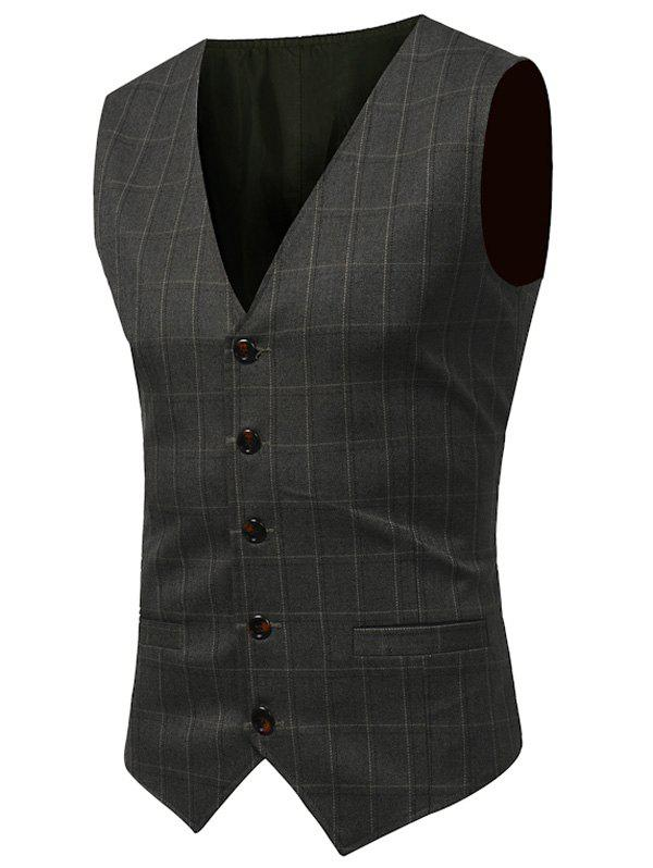 Belt Design Checked Waistcoat - ARMY GREEN 2XL