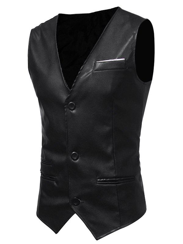 Belt Design Edging PU Leather Waistcoat - BLACK 2XL
