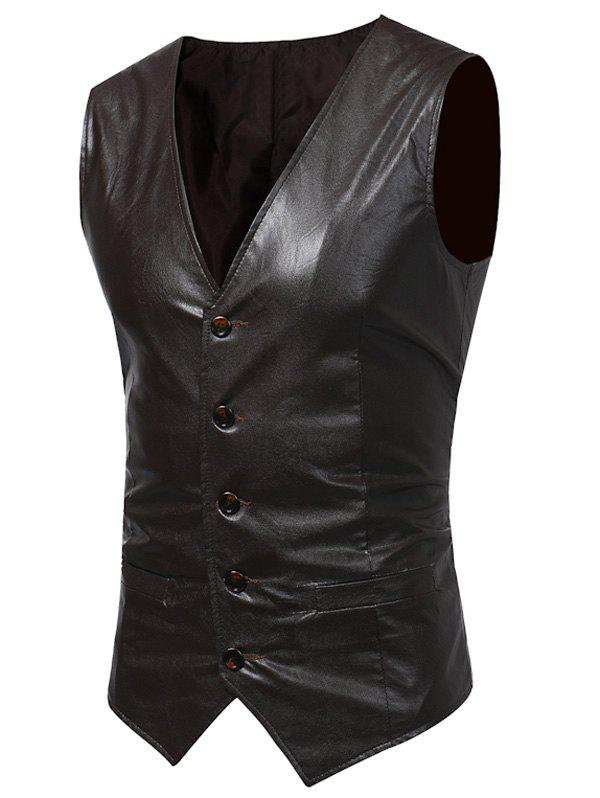 V Neck PU Leather Waistcoat - LIGHT BROWN L