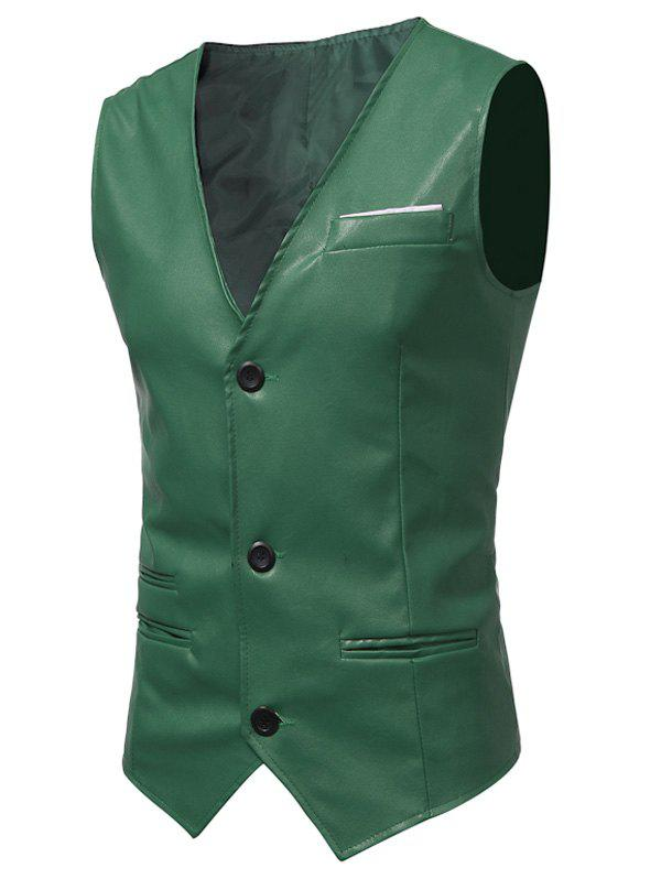 Belt Design Edging PU Leather Waistcoat - GREEN 2XL