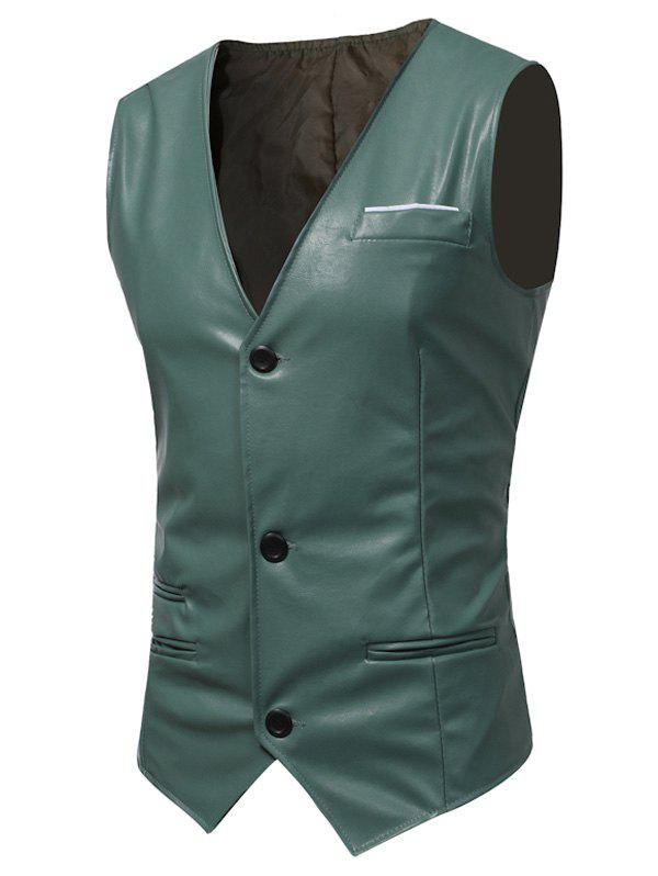 Belt Design Edging PU Leather Waistcoat - LIGHT GREEN XL