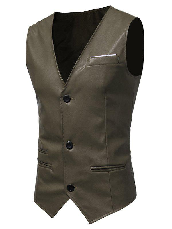 Belt Design Edging PU Leather Waistcoat - ARMY GREEN L