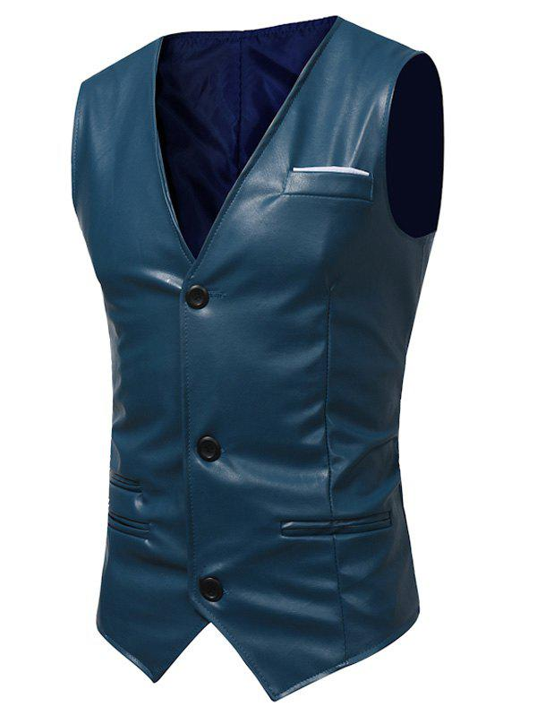 Belt Design Edging PU Leather Waistcoat - DEEP BLUE 2XL