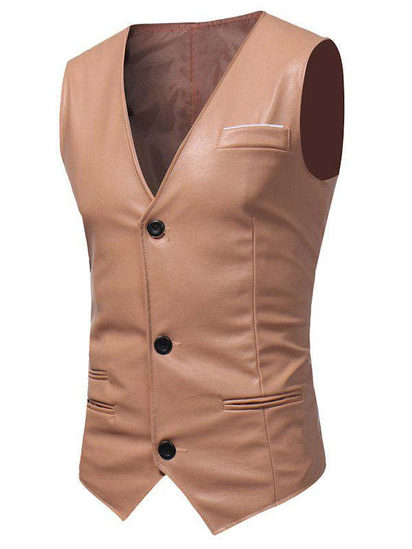 Belt Design Edging PU Leather Waistcoat - PAPAYA L
