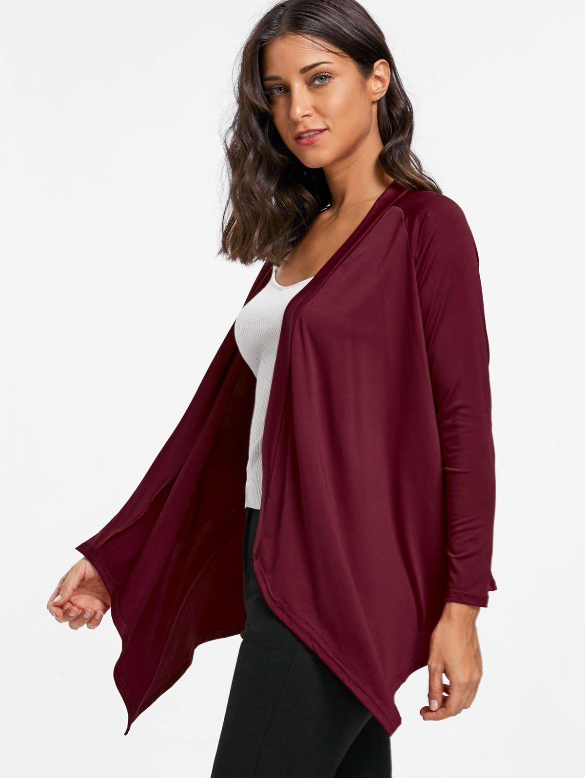 Asymmetrical Draped Open Front Cardigan - WINE RED L