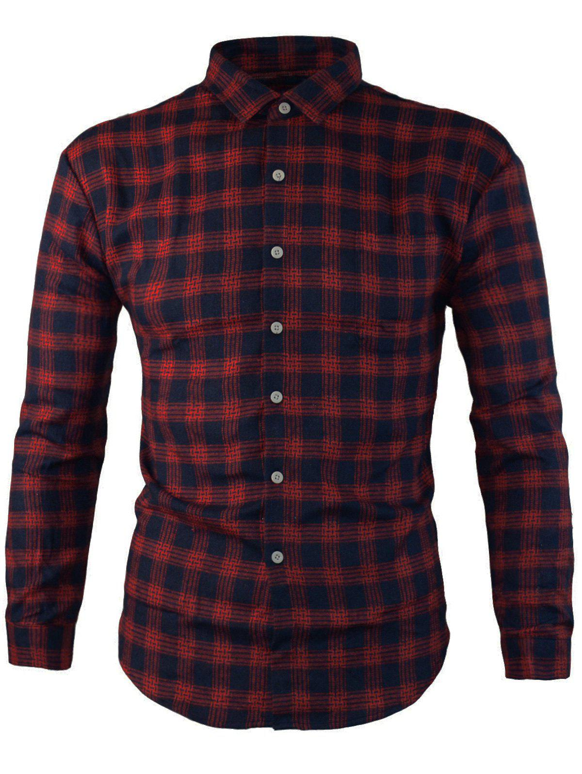 Buttoned Long Sleeve Plaid Shirt - RED L