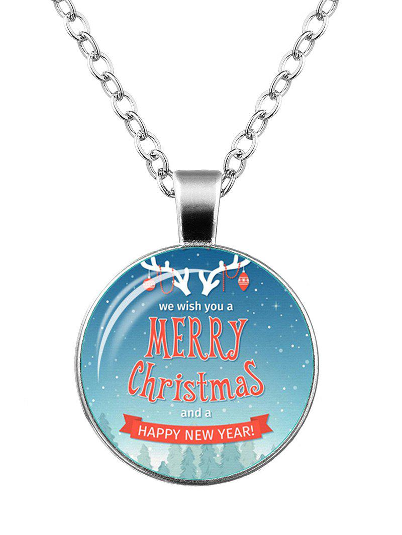 Merry Christmas Deer Happy New Year Necklace - SILVER
