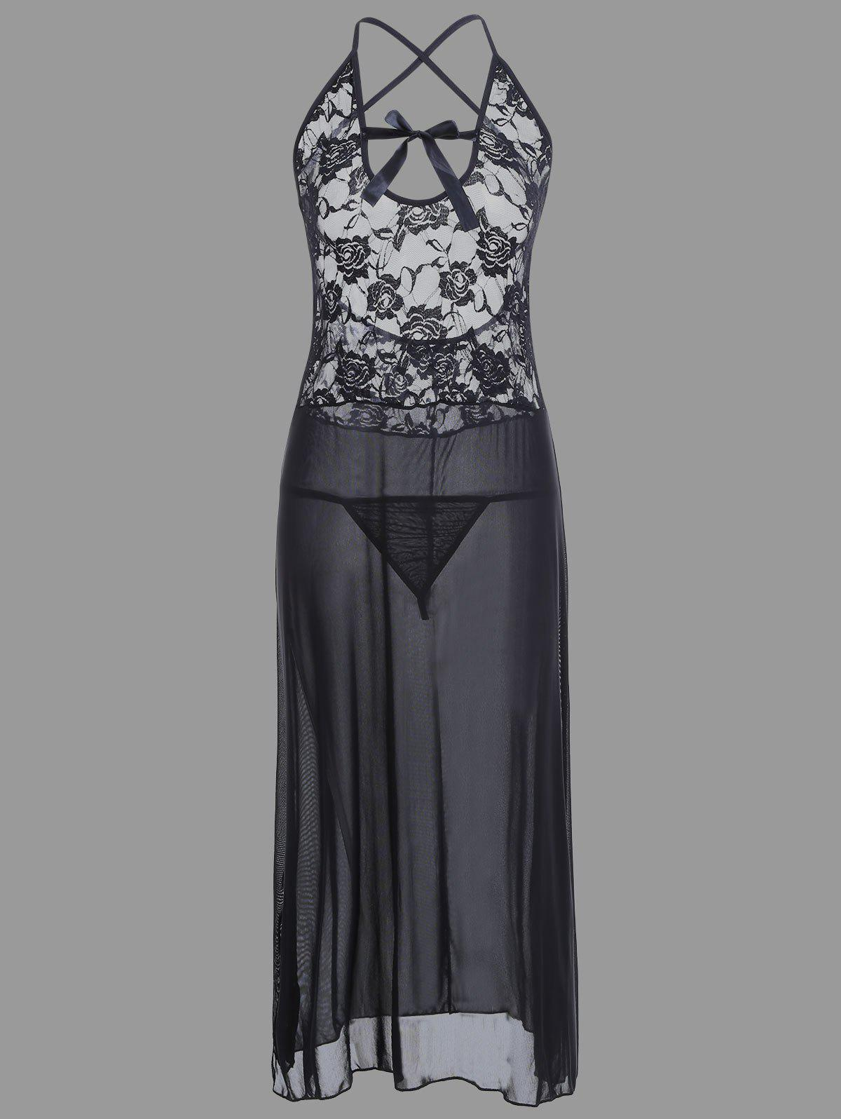 Lace Long Crossback Sheer Slip Babydoll - BLACK M