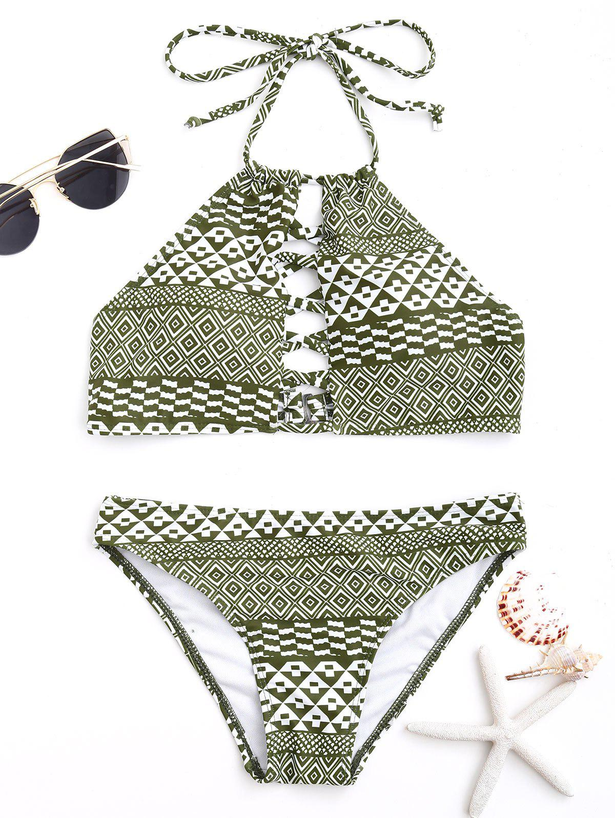 Tribal Print Halter Tied Bikini Set - COLORMIX L