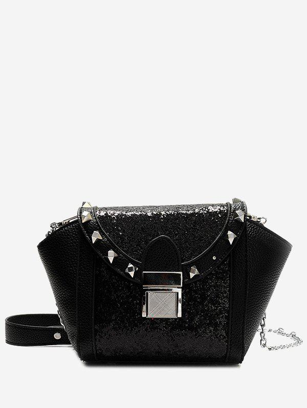 Sequin Rivet Metal Crossbody Bag - BLACK
