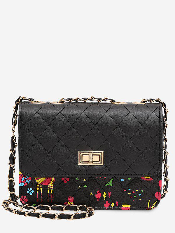 Print Animal Quilted Crossbody Bag - BLACK
