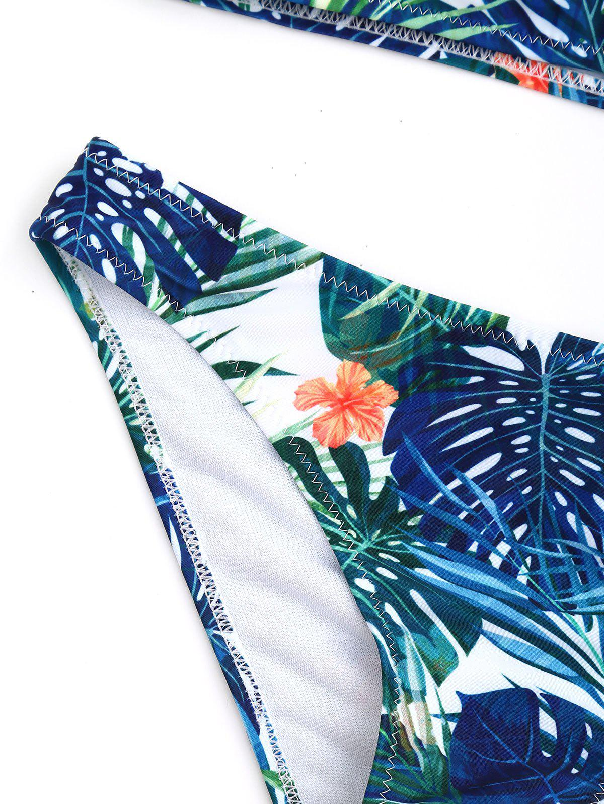 Cold Shoulder Tropical Print Bikini Set - COLORMIX M