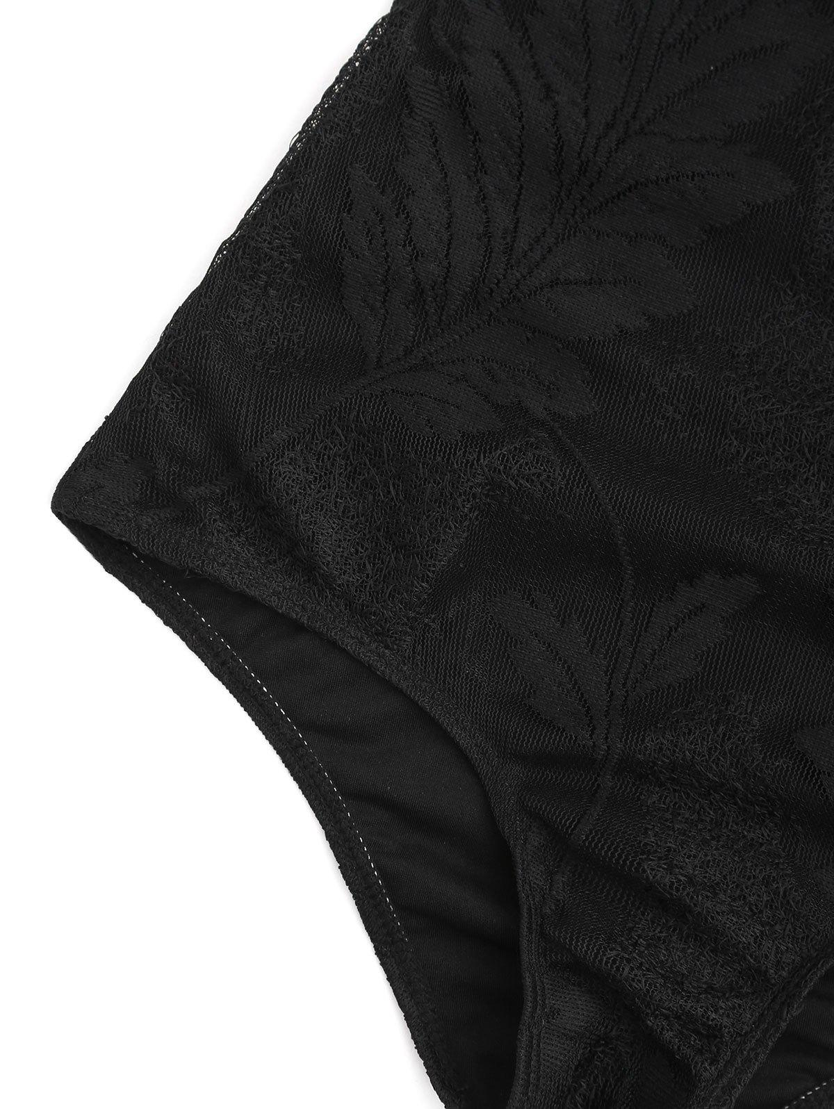 One Piece Lace Crossback Swimsuit - BLACK S