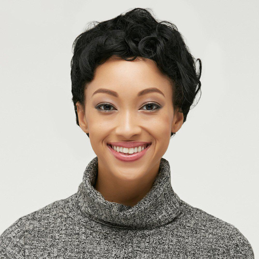 Pixie Cut Ultrashort Fluffy Curly Synthetic Wig - BLACK