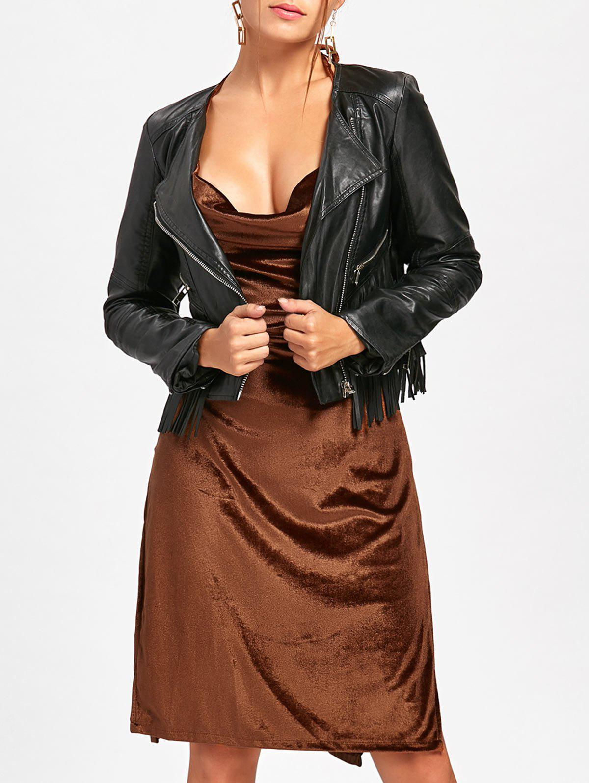 Slit Backless Halter Velvet Dress - BROWN L