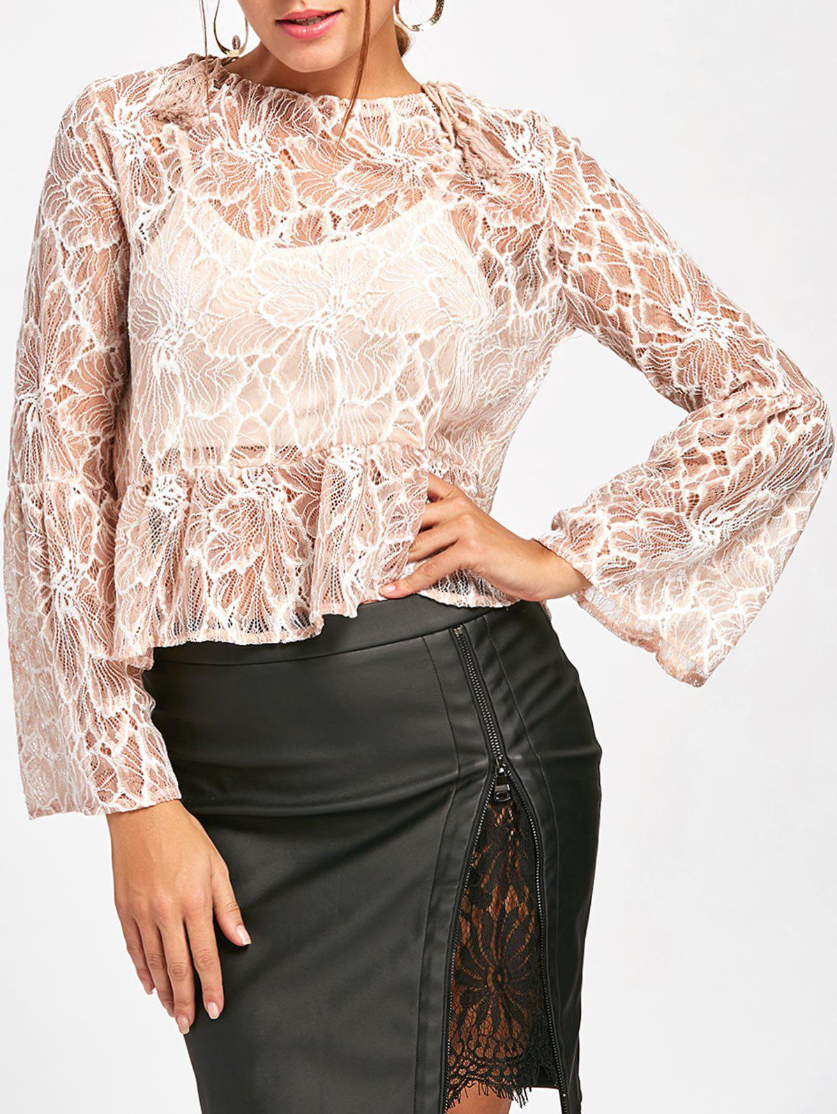 Flare Sleeve Lace Sheer Blouse - NUDE S