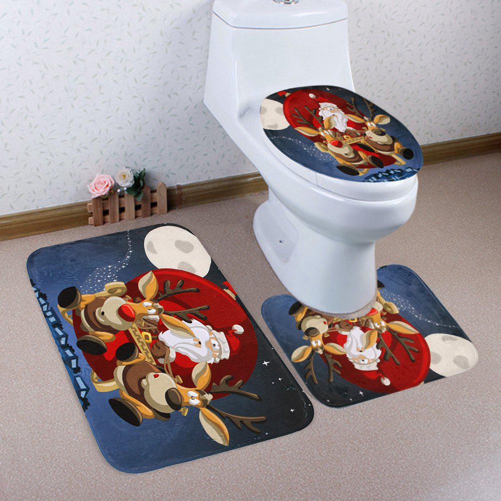 Christmas Night Santa Pattern 3 Pcs Bathroom Toilet Mat - COLORMIX