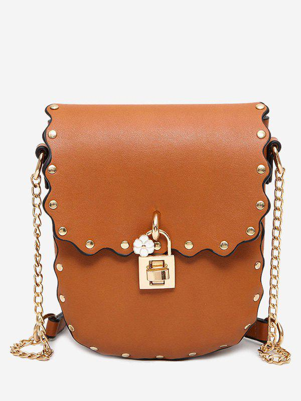 Scallop Rivet Chain Crossbody Bag - BROWN