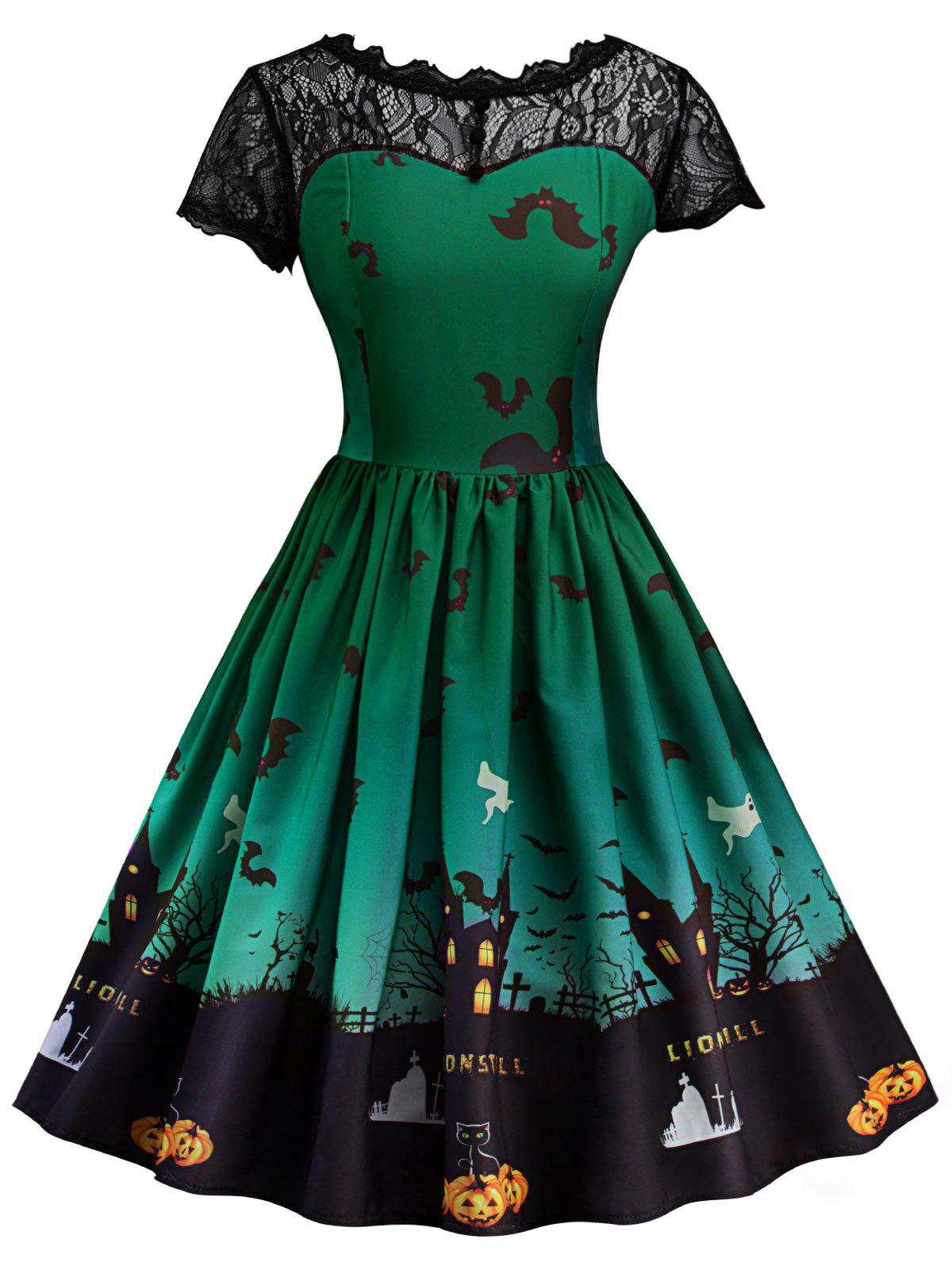 Halloween Vintage Lace Insert Pin Up Dress - GREEN L