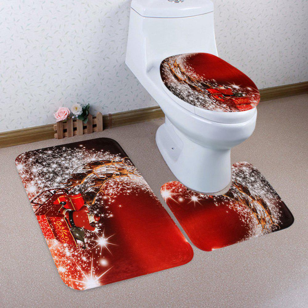 Christmas Santa Sleigh Pattern 3 Pcs Bathroom Toilet Mat - RED