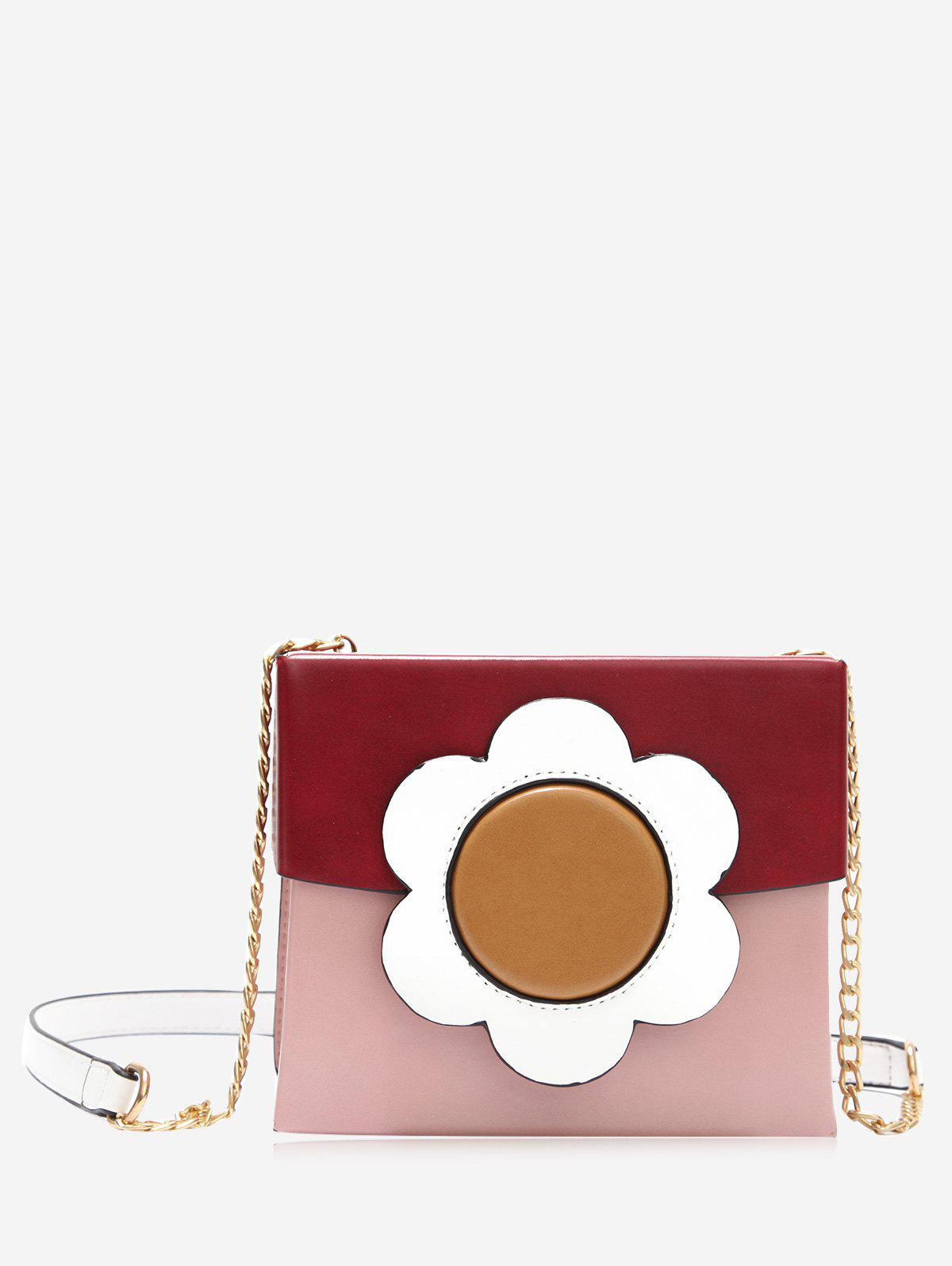 Floral Color Block Chain Crossbody Bag - RED