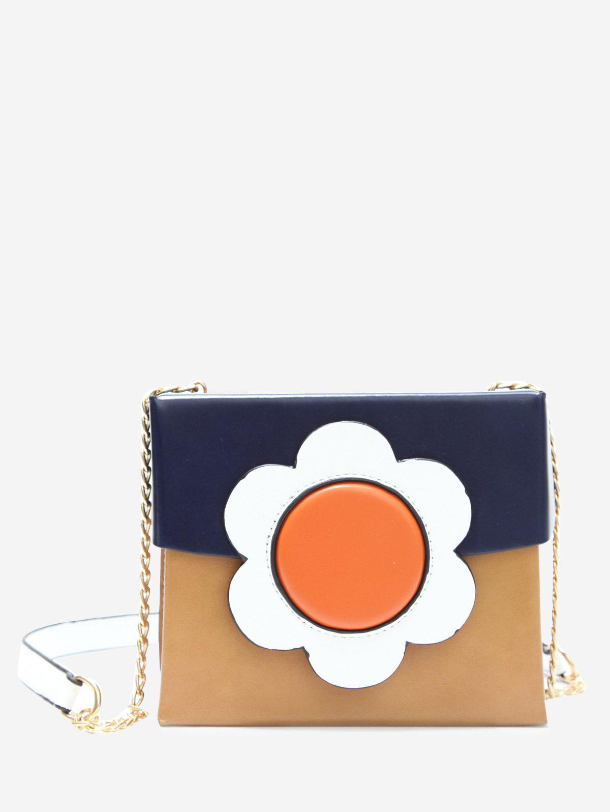Floral Color Block Chain Crossbody Bag - BLUE
