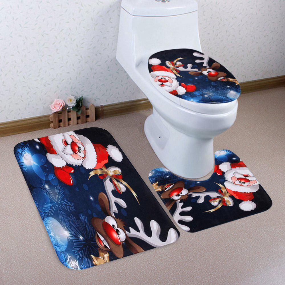 Christmas Santa Deer Pattern 3 Pcs Bathroom Toilet Mat halloween bloody hand pattern 3 pcs bathroom toilet mat