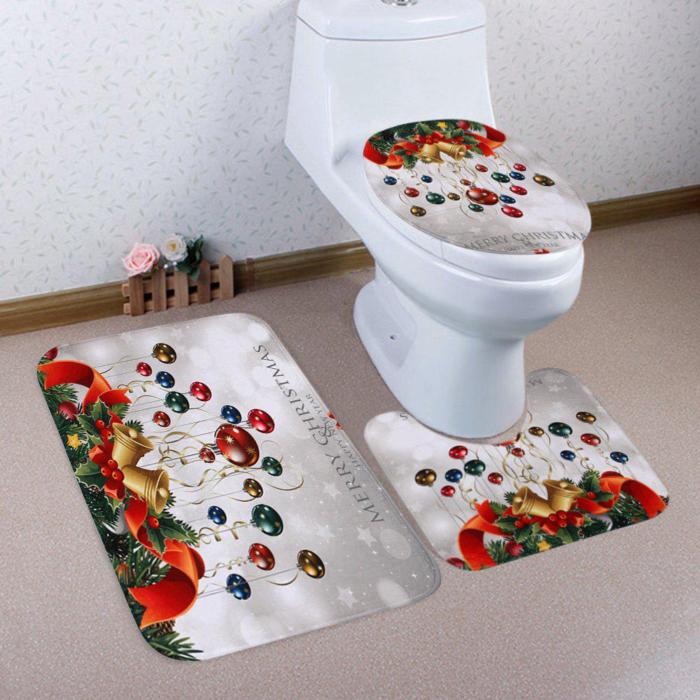 Christmas Baubles Bell Pattern 3 Pcs Bathroom Toilet Mat - COLORMIX