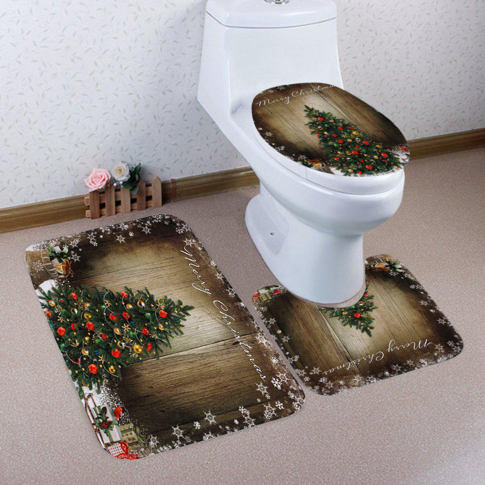 Christmas Tree Wood Pattern 3 Pcs Bathroom Toilet Mat halloween bloody hand pattern 3 pcs bathroom toilet mat