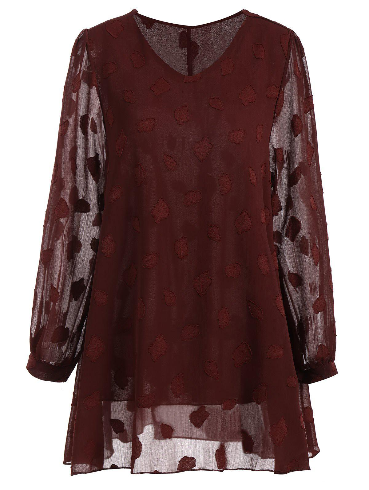 Plus Size Leaf Sheer V Neck Blouse - WINE RED 5XL