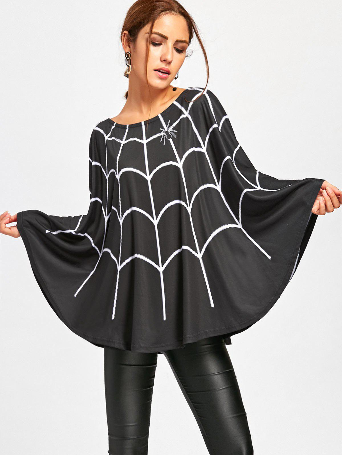 Halloween Spider Web Print Swing Poncho - BLACK M