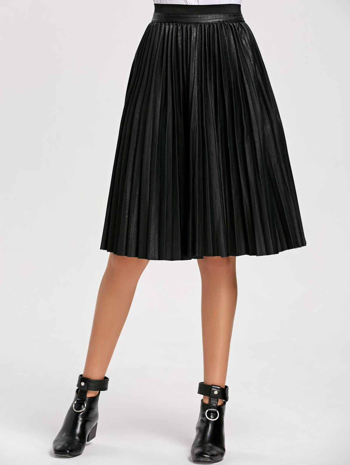 High Waist Faux Leather Pleated Skirt faux leather pleated skirt in black