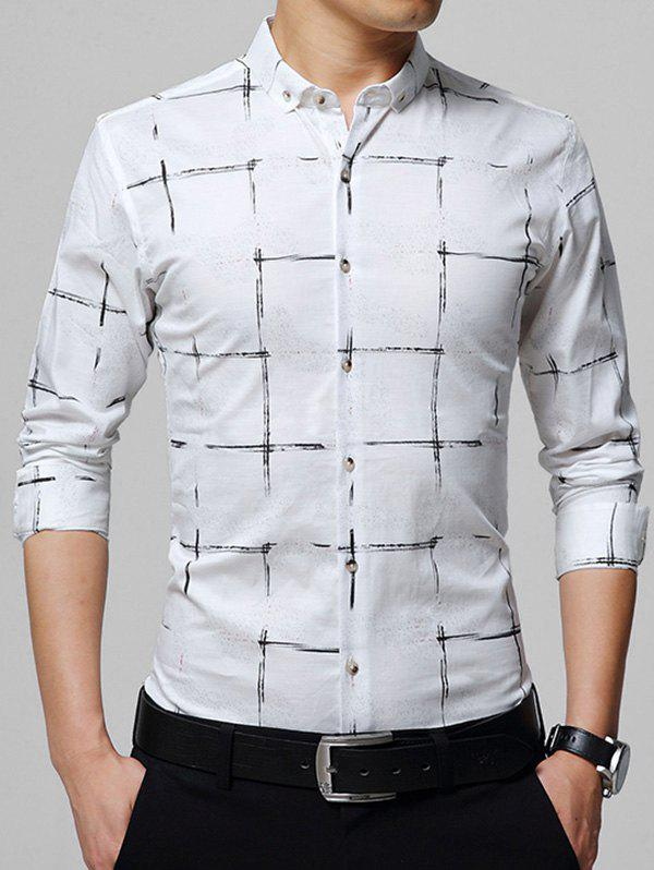 Casual Checked Button Down Shirt - Blanc 3XL