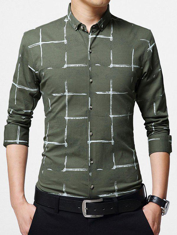 Casual Checked Button Down Shirt - Vert Armée 5XL