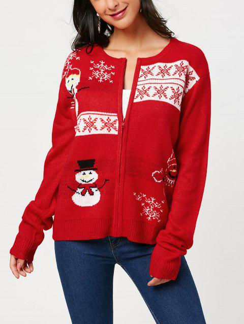 51102a3e8 17% OFF  2019 Zip Up Snowman Snowflake Pattern Knitwear In RED ONE ...