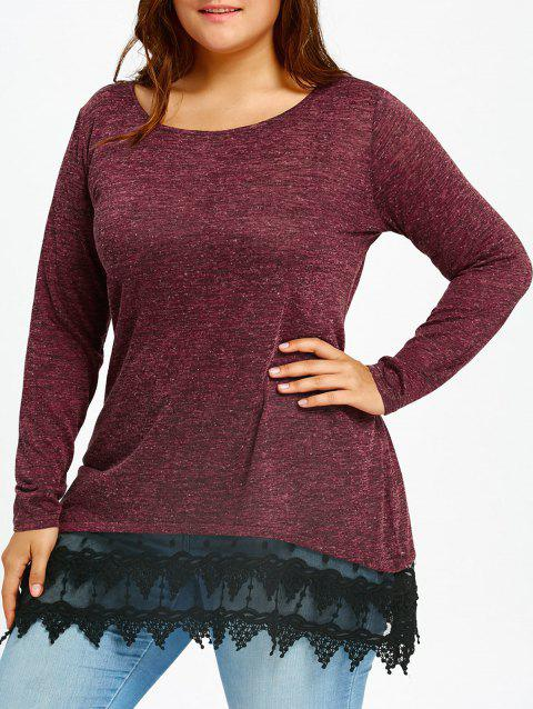 Wave Cut Lace Trim Plus Size Long Sleeve T-shirt - WINE RED 3XL