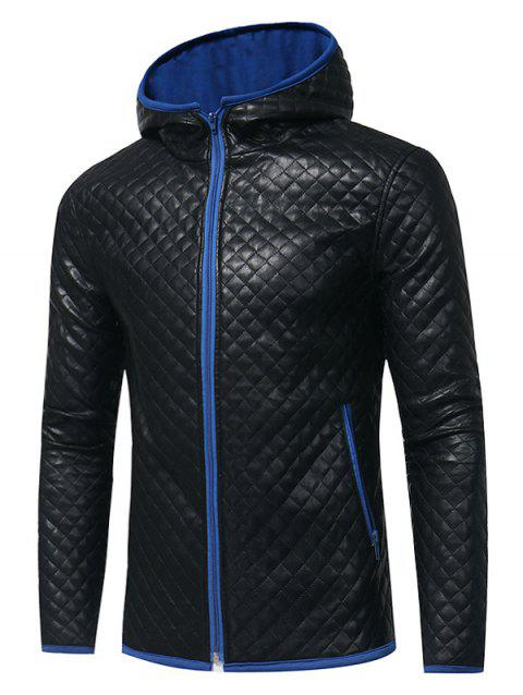 Color Block Rhombus Embossing PU Leather Jacket - ROYAL 2XL