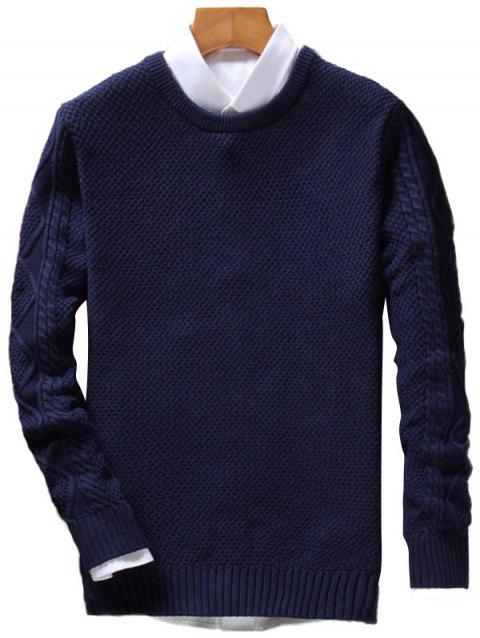 Cable Knit Crew Neck Pullover Jumper - PURPLISH BLUE XL