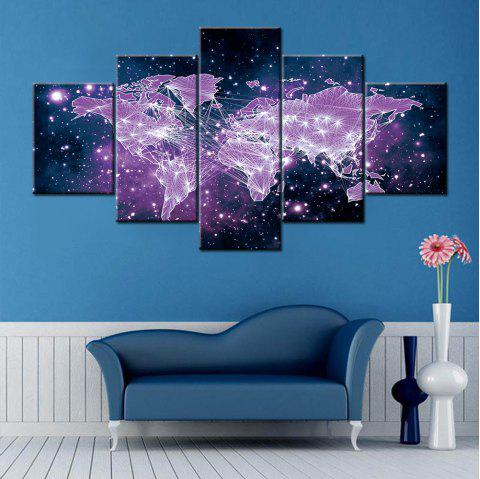 Wall Art Star Sky Map Print Split Canvas Paintings - Pourpre 1PC:10*24,2PCS:10*16,2PCS:10*20 INCH( NO FRAME )