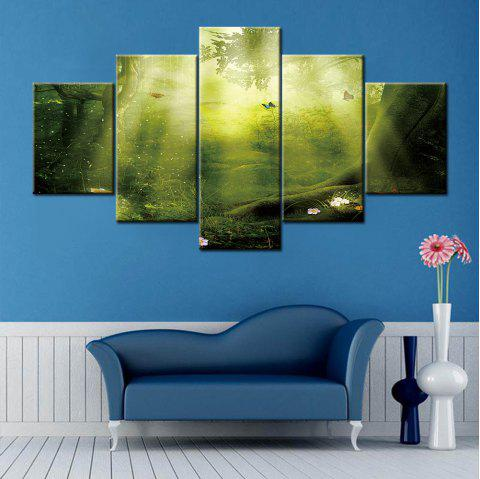 Sunshine Forest Print Split Canvas Peintures murales d'art - Vert 1PC:12*31,2PCS:12*16,2PCS:12*24 INCH( NO FRAME )