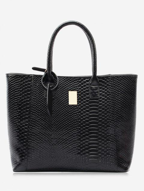 Crocodile Printed Faux Leather Shoulder Bag - BLACK