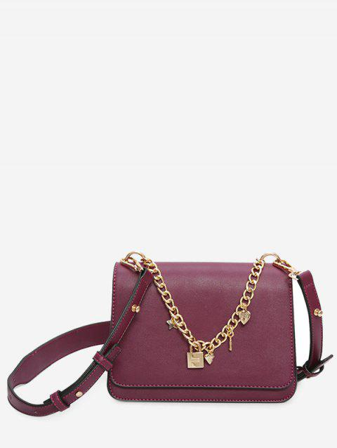 Star Heart Chain Crossbody Bag - PURPLE