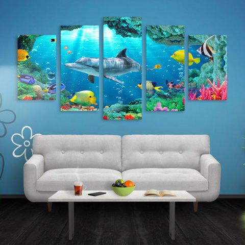 Dolphin Prints Wall Art Split Canvas Paintings - PANTONE TURQUOISE 1PC:16*39,2PCS:16*24,2PCS:16*31 INCH( NO FRAME )