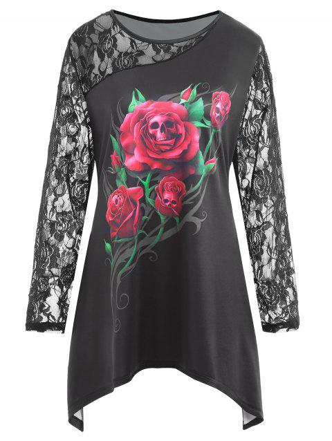 Plus Size Lace Panel Halloween Rose Skull Print Tee - BLACK 2XL