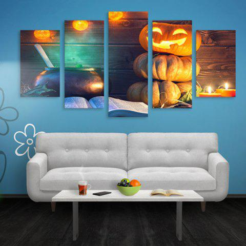 Wall Art Halloween Pumpkin Print Canvas Paintings - WOOD COLOR 1PC:16*39,2PCS:16*24,2PCS:16*31 INCH( NO FRAME )