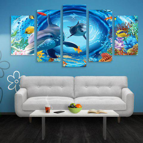 Dolphin Print Wall Art Split Canvas Paintings - BLUE 1PC:16*39,2PCS:16*24,2PCS:16*31 INCH( NO FRAME )